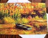 destash cards scrapbooking ... AUTUMN ROW BOAT blank Card lovely with envelope ...