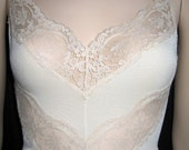 Vintage Olga Bodysilk Nightgown Off White Knee Length Chevron Lace Bodice 9195 S B31