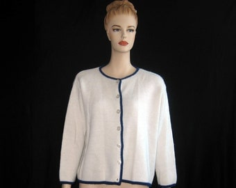 Vintage Boxy Cardigan Sweater Off White Blue Button Up Penney's 42 XL Plus 1960s