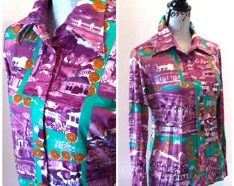 Purple Revival Top - 60s Ladies Long Sleeve Button Up Pattern Top Blouse, Small Medium