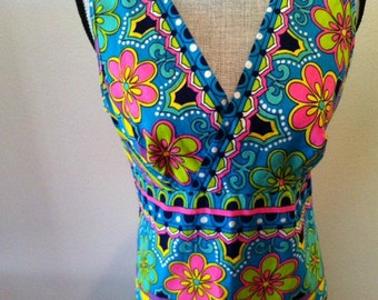 Flower Power Dress - Vibrant 60s 70s Floral Psychedelic Print Maxi Dress - Medium