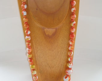 hand painted boho chic tangerine marbleized wooden bead necklace