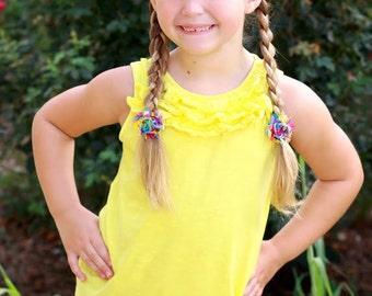 Shabby Pigtail Clips. Tie Dye Shabby Flower Pigtail Clips. Ponytail Holder. Pigtail Holder.Hair Ties.Elastic Hair Tie.Shabby Hair clipslder.