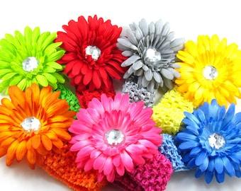 Gerbera Daisy Hair Clip Crochet Headband / You Pick Three Gerbera Daisy Crochet Headbands / Baby Headband / Infant Headband / Gerbera Daisy