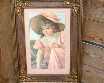 Beautiful Victorian Framed Picture Print of Young Girl in Pink peach Dress and Hat