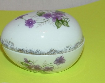 Porcelain Egg Box with Purple Violet Flowers and Silver edge Trinket holder