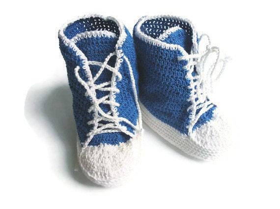 Baby Converse Baby Booties Converse Blue baby crochet sneakers