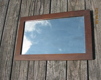 Antique 1920s Mirror in Oak Wood Frame with original patina