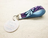 FREE SHIPPING - Key Fob Wristlet - Light Blue - Purple - Violet - Flowers