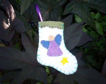 Stocking Ornament - Angel (White)