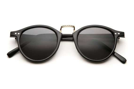 80's Vintage - les bayters keyhole rounded wayfarer sunglasses (black)