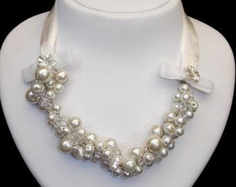 Wedding Pearl Necklace,  Swarovski Pearls, Ivory,  Wedding Jewelry, Bridal Jewelry,chunky pearl necklace
