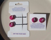 "Magenta Silk ""Jolly Roger"" Skull & Crossbones Earrings and Bobby Pins Gift Set"