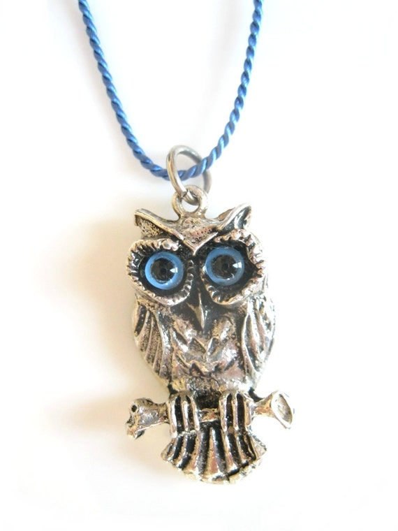 Vintage silver owl with blue eyes on blue silk cord, vintage jewelry, owl necklace, blue necklace, pendant, silver charm, antique jewelry