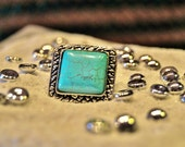 Turquoise - Tibetan vintage retro women's/men's adjustable rings Silver tone - L9