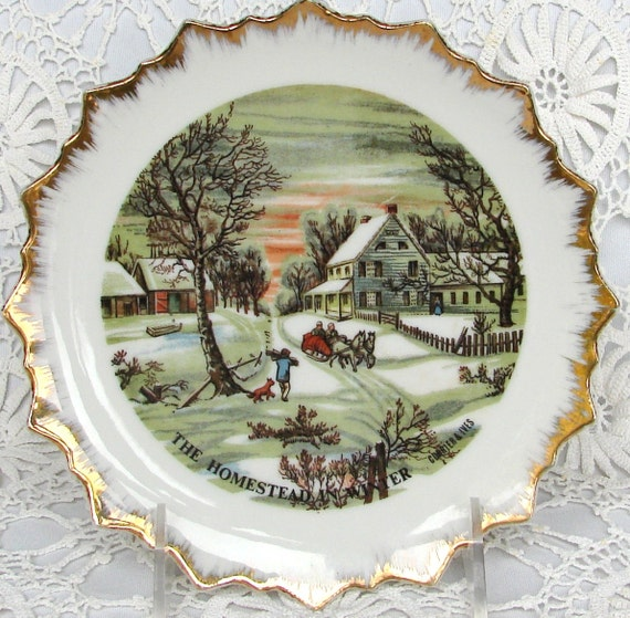 Currier and ives plates vintage set of 4 wall hanging plates