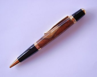 Sierra Pen - Multi-Tone Amboyna Burl Wood with Black and Gold Titanium
