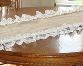 Reserved For Blye Burlap and Lace Table Runner