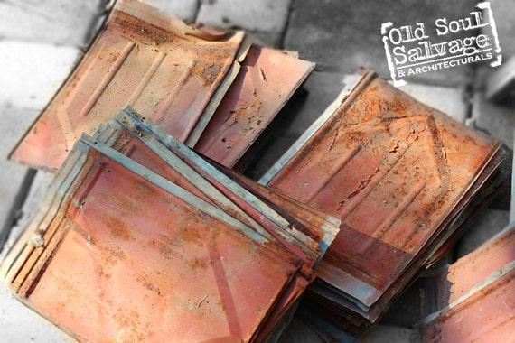 Items Similar To 10 Vintage Galvenized Tin Roof Tiles