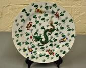 Ceramic Asian Design Green Dragon Plate