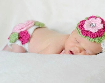 Crochet 3 layer flower headband jewel rhinestone center. Newborn adult crochet flower headband. Flower headband with jewel rhinestone.