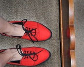 Red Canvas Platform Shoes in Size 8 1/2