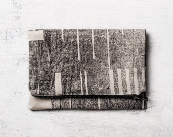 Black Fold Over Zipper Clutch, Hand Screen Printed. Large Pouch / Make Up Bag
