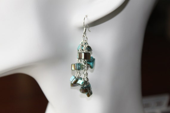 Chain Turquoise Blue Green Brown Shell Stone Earrings