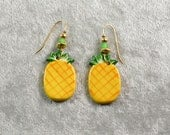 Handpainted ceramic pineapple earrings w rose glass beads