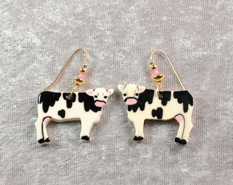 Handpainted ceramic cow earrings