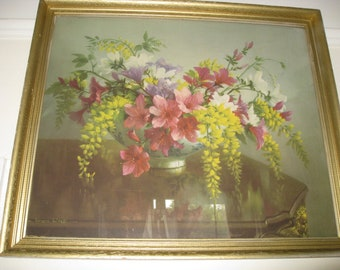 """Collectable Vintage Large Floral Art Print """"Azaleas in May"""" by Vernon Ward in original frame with beautiful colours & detail"""