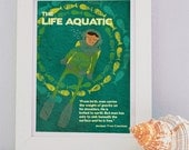 "A4 print (8.2 x 11.7 inch) - Wes Anderson s movie ""the Life Aquatic"" inspired illustration, with a scuba diver, colorful fish and a qoute"