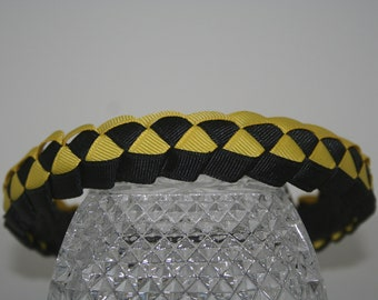 Yellow and Black Military Weave Top Woven Ribbon Headband,Grosgrain, Headband, Ribbon Headband, Hair Band, Hair Accessories