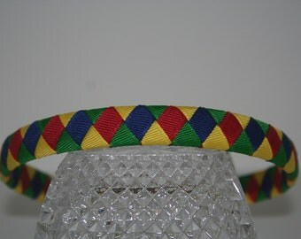 Red, Blue, Green, and Yellow Woven Ribbon Headband