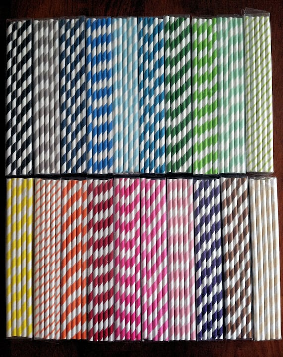 50 - CHOOSE YOUR COLOR - Striped paper straws with free blank printable flags - Ready to Ship ... Red, Green, Cream, Yellow, Orange, Brown