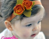 Fall Harvest Double Rose Headband - Handmade 100% Wool Felt Headband for Newborns, Toddlers, or Adults - Photo Prop for Fall & Thanksgiving