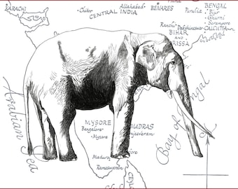 Asian Elephant on a vintage map // Buy 2 prints, get 1 Free