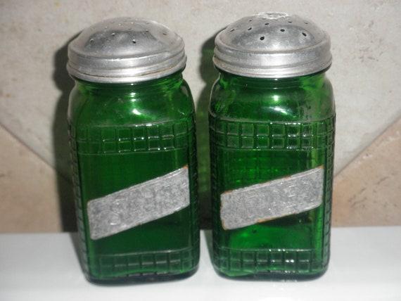 Vintage Green Glass Salt and Pepper Shakers Depression Era