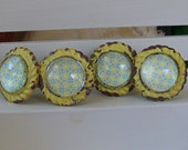 Yellow Cast Iron Knob with Glass Front-Shabby Chic Dresser Drawer Pull-1 knob