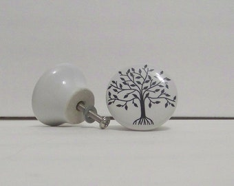 White Ceramic Knob-Decorative Dresser Tree Print Knob