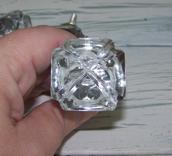 1-Diamond Cut Clear Glass Knob-Drawer Pull-Vintage Inspired