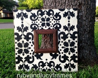 black & white jaipur damask 4x4 distressed frame with dark walnut trim