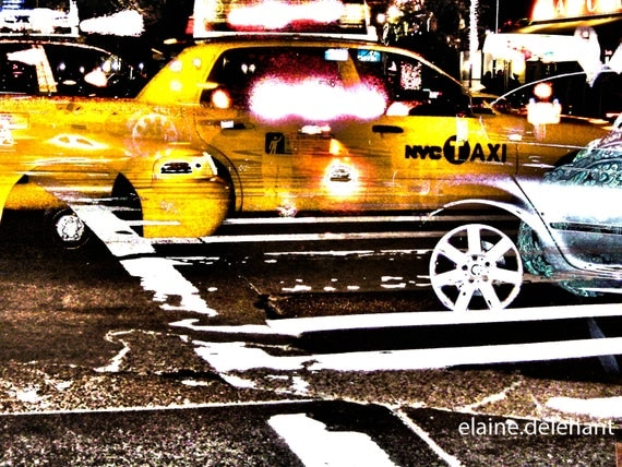 Magical Taxis on NYC Street at Night, Light Streaks, Motion Blur, HDR, Cab, Taxi, Cabs, Wheels, Yellow, Original Photograph/Wall Decor/Art