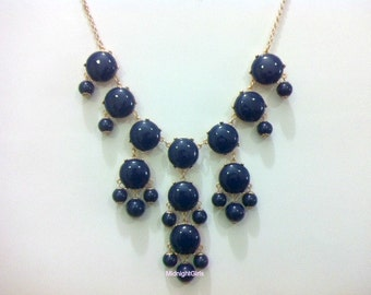 Statement Jewelry - Bubble Necklace, Navy Bubble Necklace, J Crew Inspired, Navy Necklace,
