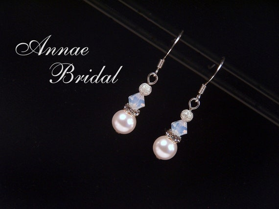 "White pearl earrings with white opal crystal bead and rhinestone accent, Swarovski, silver, ""Beloved"" earrings"