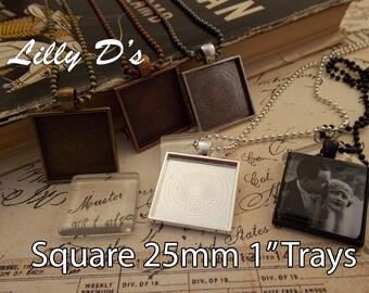 50- Pendant Trays 25mm 1 inch - Blank Bezel Cabochon - Shiny - Antique - Vintage - 5 Colors - Mix N Match