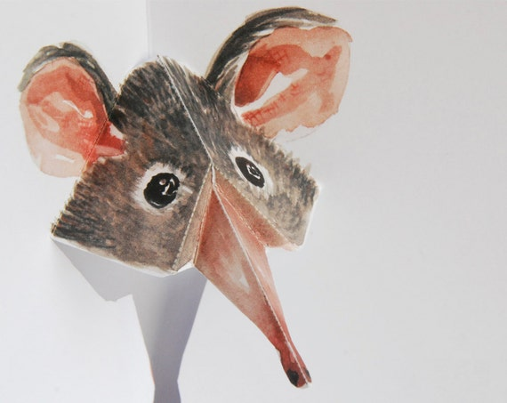 Shrew 3D Pop up Card - Watercolour print - Hand made greeting card by Squish-n-Chips