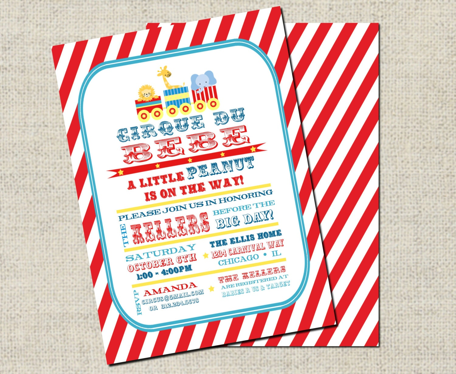 circus baby shower invitation red printable baby shower