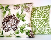 2 Pillow Covers - Waverly Fabric -Lattice Fretwork and Floral Ivory, Brown, Green