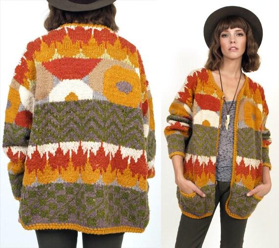 Desert Sunset Chunky KNIT Wool Striped Cardigan Sweater S/M